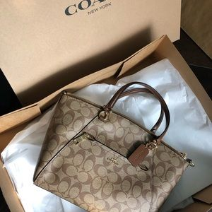Coach Khaki Prairie Satchel in Signature Leather